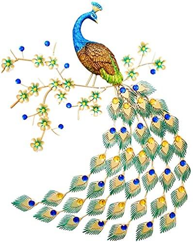 PIAOLIGN Mural de lona para decoración de pared, diseño de pavo real y pavo real de metal colorido y cola de joyería, decoración moderna para interiores y exteriores