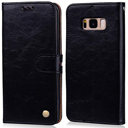 MoEvn Cover per Samsung S8, Custodia Galaxy S8 Pelle PU e Silicone Premium Luxury PU Leather Flip Wallet Case Supporto Porta Carte Chiusura Magnetica Portafoglio Protettivo Caso Nero