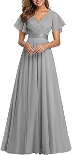 Ever-Pretty Vestito da Festa Donna Linea ad a Tulle Abito da Sera Scollo V Lungo Cerimonia 07962