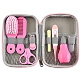 FantasyDay Baby Grooming Kit, 8-in-1 Newborn Portable Baby Health and Care Set with Nail Clipper, Nose Cleaner, Manicure Kit, Finger Toothbrush, Manicure Kit, Hair Brush (Pink)