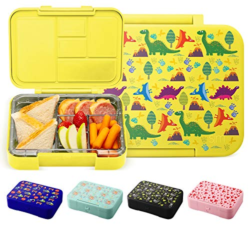 Simple Modern Porter Kids Bento Box for Girls, Boys, Toddlers BPA-Free Leakproof Lunch Container with 5 Compartments, 30 oz, Sunshine Dino