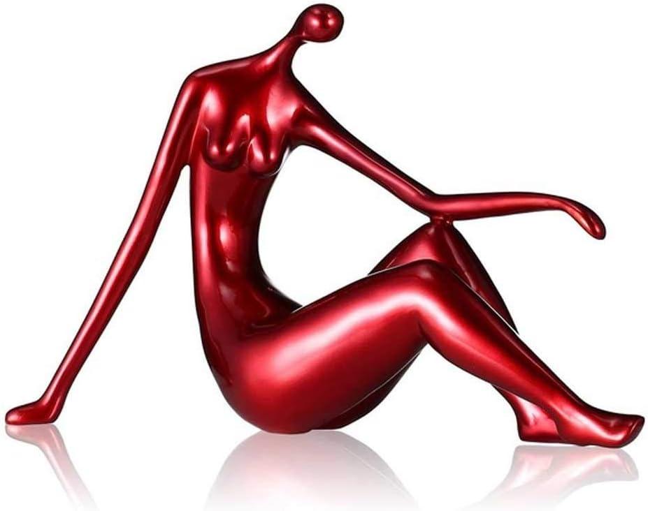 JJSPP Red Reclining Woman Figurine Resin Figurine Home Decor Del