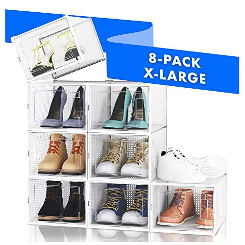 NEATLY Shoe Organizer Shoe Storage - Stylish Shoe Box Shoe Organizer For Closet Shoe Shelf Sneaker Closet Organizers Storage Organizer Shoe Storage Cabinet Shoe Boxes Clear Plastic Stackable