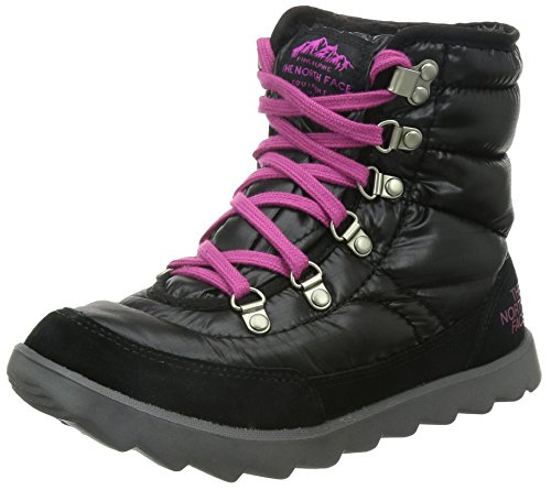 The North Face Women's Thermoball Lace Boot,Shiny TNF Black/Luminous Pink,US 9 M