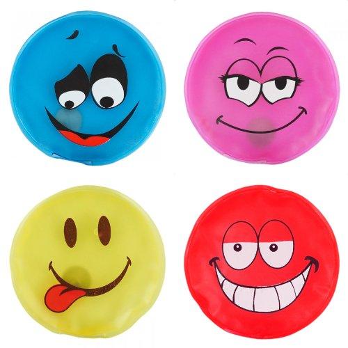 OHE Taschenwärmer 4er Set Handwärmer - Smileys in 4 trendigen Farben - Heizpad Firebag