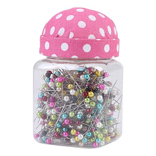 500Pcs Multicolor Perlen Nadeln Quilten Pins in Pink Stoff bedeckt Pin Kissen Flasche Sewing Craft