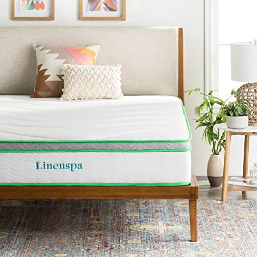 LINENSPA 10 Inch Latex Hybrid Mattress - Supportive - Responsive Feel - Medium Firm - Temperature Neutral - Queen
