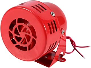 DEALPEAK 12V 110dB Loud Motorcycle Driven Horn, Electrical Air Raid Siren Alarm Small Horn Red Color for Motorbike Truck Car