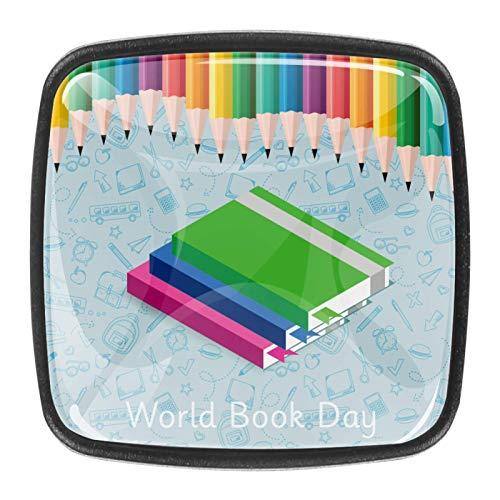 Juego de 4 pomos para armario de cocina de 1,18 pulgadas, botones de cristal para cajones con kit de hardware para dormitorio, muebles de cocina, armarios, día del libro de colores, libro de lápices
