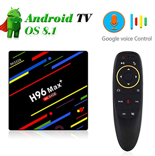 SHENGY Android 8.1 Google Voice Control Freeview Box TV, Quad Core 4K 3D WiFi 2.4G y 5G HD Smart Home Cinema, Bluetooth 4.0 USB 3.0 Reproductor de Medios,4/32G,EU