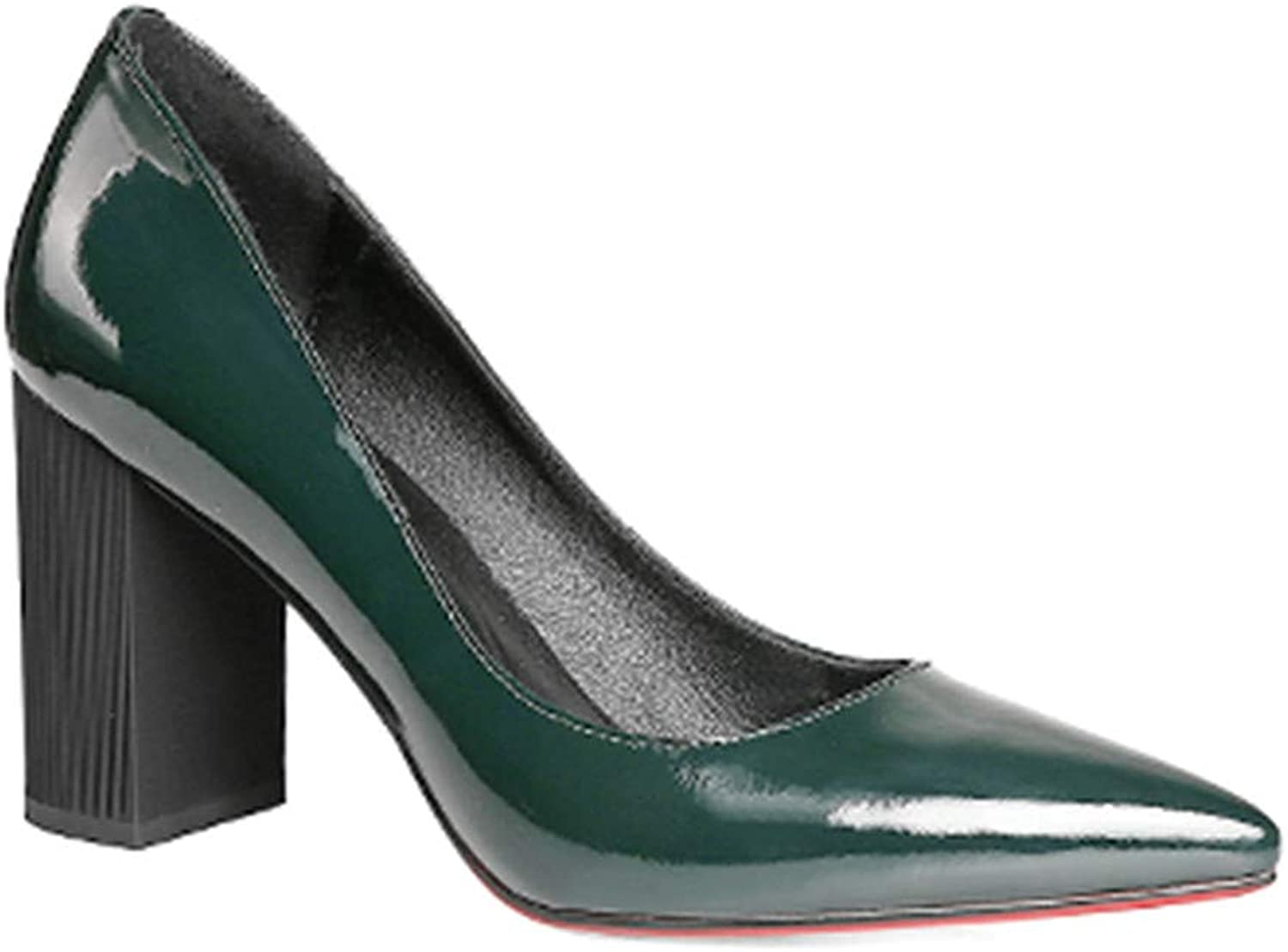 BestLifes Square Heels Pumps Dark Green Patent Leather Elegant Office Lady Pumps
