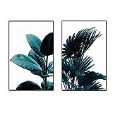 SODIAL 2pcs / Set Plante Verte Creative Toile Impression d'art Affiche Murale Photos de Mur Peinture d'art Murale pour Chambre Salon Decoration de Maison Cadre Non Inclus 40 cm * 50 cm