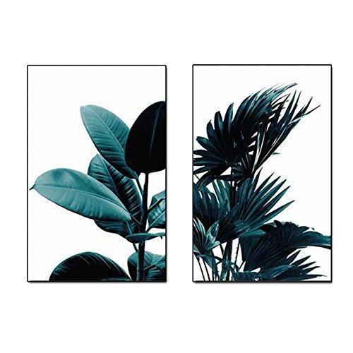TOOGOO 2 Piezas/Conjunto Poster de Pared Creativo de Planta Verde de Impresion en Lona Cuadros de Pared Pintura de Arte para el Dormitorio Sala Decoracion del hogar Marco no Incluido 21cm * 30cm