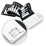 Donteec Piano plegable, portátil de 49 teclas retráctil, teclado electrónico de silicona, teclado mini teclado para niños y adultos, fácil de llevar, color blanco