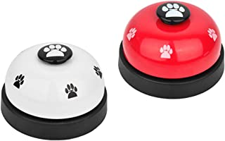 SlowTon Pet Bell, 2 Pack Metal Bell Dog Training with Non Skid Rubber Bottoms Dog Door Bell for Potty Training Clear Ring ...