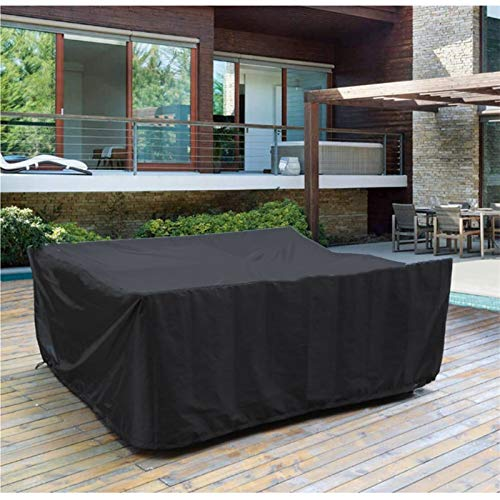 ZWYSL Fundas para Muebles De Jardín Cubo Tela Impermeable Lona Protectora De Lona Resistente Cubierta para Muebles De Jardín De Patio,Todos Los Climas (Color : Negro, Size : 242×162×100cm)