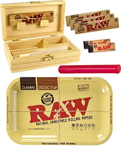 Caja de Metal de Raw Rolling Tray, tamaño Mediano, de Madera, 155 x 85 x 48 mm, 3 Paquetes de 32 Papeles Raw KS Slim, 2 filtros Raw de 50 Puntas, Tubo de 120 mm, botón Rasta
