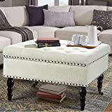 AVAWING 29' Square Tufted Button Storage Ottoman Table Bench with Rolling Wheels Nailhead Trim Linen Fabric Foot Rest Stool/Seat for Bedroom, livingroom and Hallway (White)