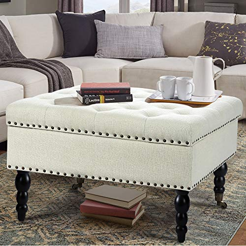 """AVAWING 29"""" Square Tufted Button Storage Ottoman Table Bench with Rolling Wheels Nailhead Trim Linen Fabric Foot Rest Stool/Seat for Bedroom, livingroom and Hallway (White)"""