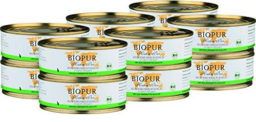 BIOPUR Bio Katzenfutter Huhnmuskelfleisch für Katzen 12x200g
