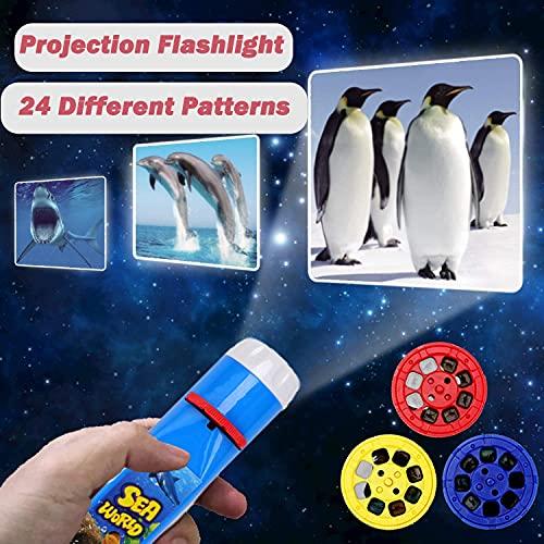 YEAR OLD Regalos de juguete para 1 2 3 4 5 6 años, linterna proyector infantil luz océano historia regalo de cumpleaños para niño proyector para diapositivas (océano)