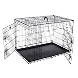 Pet Trex 42' Folding Pet Crate Double Door Kennel Wire Cage for Dogs, Cats or Rabbits