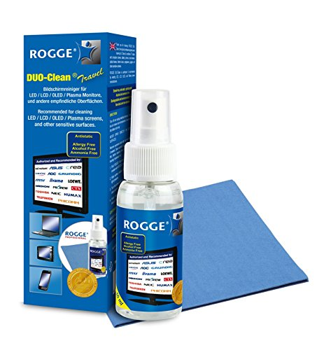 ROGGE Duo-Clean Travel Original, 50ml Screen-Cleaner für Smartphone - Mobilephone inkl. 2X ROGGE Prof. Microfasertücher, 19x20cm.