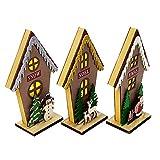 NYWENY Adornos colgantes de Navidad, casa de madera, luz LED, casa de madera, decoración de Navidad, para escritorio, habitación infantil, sala de estar, decoración del hogar, Navidad