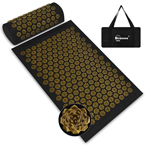 Benooa Acupressure Mat and Pillow Set for Back/Neck Pain Relief Acupuncture Mats Pranamat Massage Mat for Muscle Relaxation Relieves Stress and Sciatic Pain with Carrying Bag for Storage