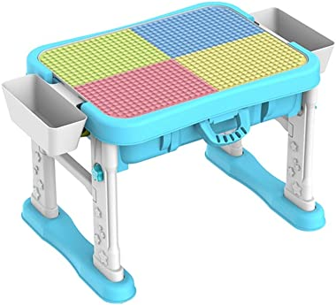 Ybriefbag-Games Children's Wooden Table Multi-Function Baby Game Table 3-6 Years Old Boy and Girl Puzzle Building Blocks Assembled Toy Table (Color : Blue, Size : 50x50x65cm)