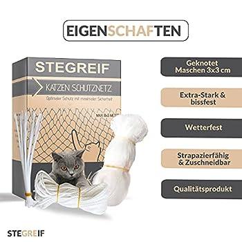 STEGREIF Filet de protection pour chat - Pour balcon et fenêtre - 8 x 3 m - Transparent - Anti-fuite - Résistant aux morsures et aux déchirures - Qualité supérieure