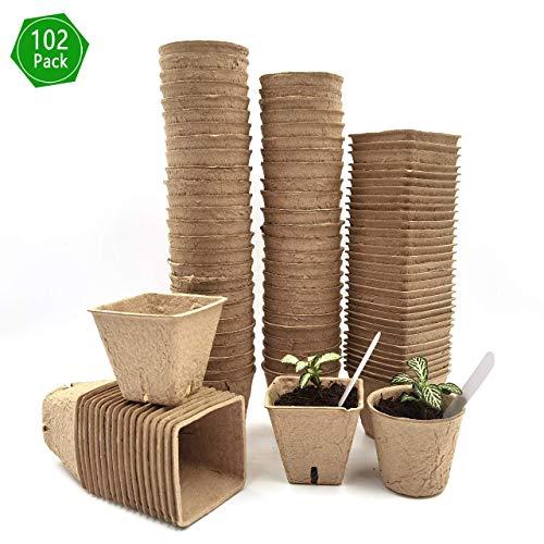 【102 Stück】 G-More 6cm Torftöpfe, Anzuchttöpfe für Pflanzen, Biologisch Abbaubare Schale 100% umweltfreundliche Sämlingsschalen für die organische Keimung