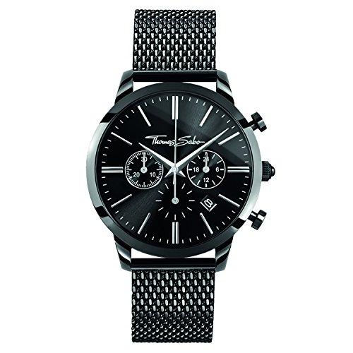 THOMAS SABO Unisex Erwachsene Chronograph Quarz Uhr mit Edelstahl Armband WA0291-287-203-42