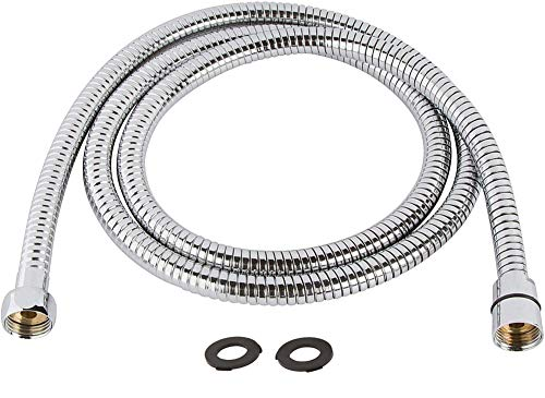 TRIPHIL Kink-free Shower Hoses Extra-long for Handheld Showerhead Hose Replacement Flexible Metal Shower Tube Extension Anti-twist 2 Brass Connectors Stainless Steel Sleeve Chrome 98 Inches