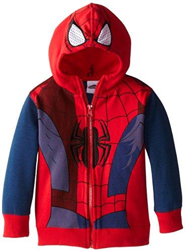 Marvel Little Boys' Spiderman Fleece Masked Hoodie, Tango Red, 2T