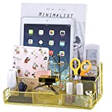 Gold Desk Organizer, All in One Cute Mesh Office Supplies Accessories Caddy for Home & Office Desktop Organization & Decor,Mail Organizer