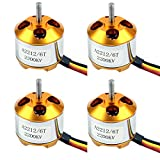 QWinOut A2212 2200KV Brushless Outrunner Motor with Mounts 6T for DIY RC Aircraft Plane Multi-Copter Quadcopter Drone (4 Pcs)