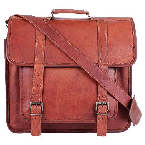 GNG-Cartella per laptop Borsa per uomo in pelle vintage Borsa messenger in pelle di capra marrone Cartella da 16 per ufficio con tasca
