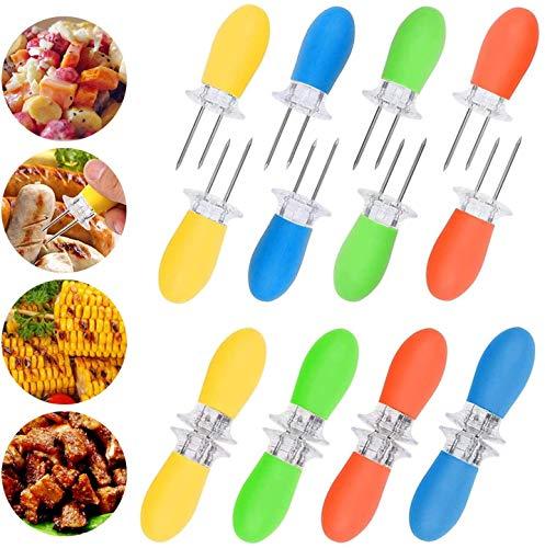 GOODGDN 8 Paar Maiskolbenspieße, Maiskolbenhalter Grillzubehör Edelstahl Nadel Schaschlikspieße Food Fruit Forks Küche Werkzeug