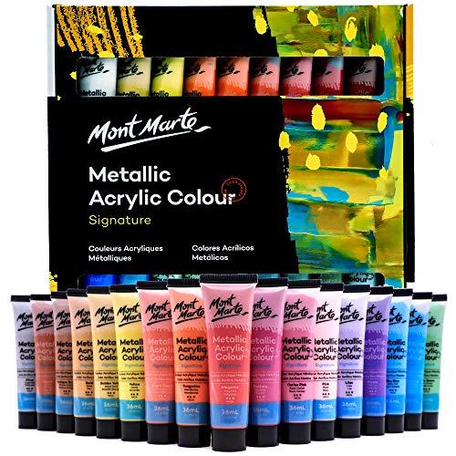 Mont Marte Wysokiej jakości metaliczny zestaw farb akrylowych, 36 x 36 ml (36 ml), 36 kolorów, nadaje się do większości powierzchni, w tym płótno, kartę, papier i drewno