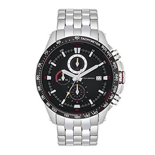 Stahlbergh Herren Uhr analog Quarz mit Edelstahl Armband Silber 5 ATM 10060109