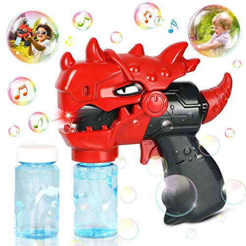 MAN NUO Bubble Machine Toys,Bubbles for Toddlers with Music&Lights,Dinosaur Bubble Blaster Gun Kit for Kids with 2 Bubble Solutions Toys for 1 2 3 4 5 6 Years Old Boys Girls Gift Indoor&Outdoor