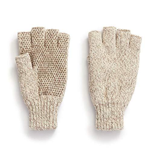 HOT SHOT Herren Handschuhe Ragg Wolle, fingerlos, Herren, Oatmeal - Fingerless Glove, One Size 226