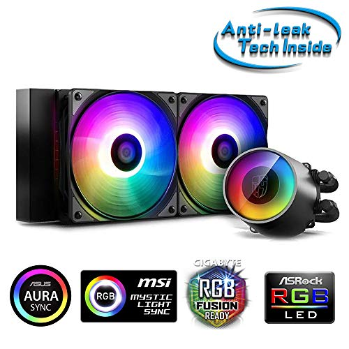 DeepCool Castle 240 RGB V2 Sistema di Raffreddamento Anti-Leak Radiatore da 240mm Dissipatore a Liquido RGB Rainbow Addressable 5V ADD RGB 3-Pin Compatibile Intel 115X/2066 e AMD TR4/AM4