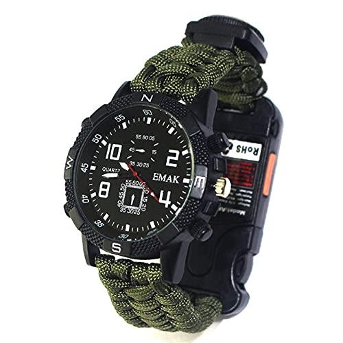 TGUS Reloj de supervivencia multifuncional al aire libre, reloj de supervivencia de emergencia, reloj de pulsera de supervivencia, equipo de supervivencia para senderismo y escalada (verde militar)