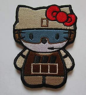 Hello Kitty AS Army Soldier Military Patch Fabric Embroidered Badges Patch Tactical Stickers for Clothes with Hook & Loop