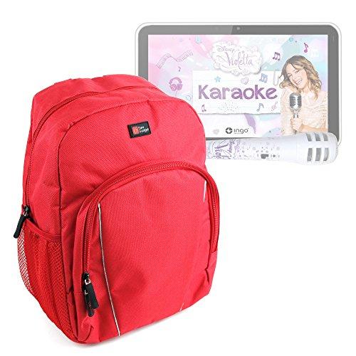 DURAGADGET Mochila para Niños para Ingo Tablet Violetta Karaoke   One Direction + Funda Impermeable - Roja
