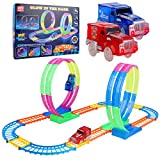 27 Pieces Large Race Track Set with Double 360° Stunt Loops and Two Bonus LED Light Up Electric Cars. Birthday Gift for Kids Boys Girls Toddlers Classroom Prize Valentine's Gift