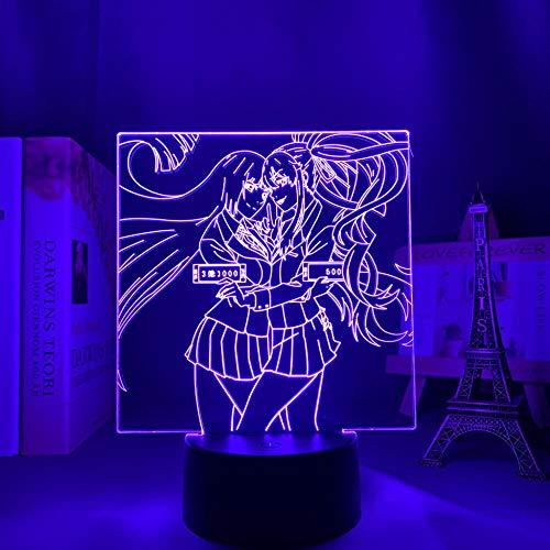 Kakegurui - Lámpara de anime 3D LED de luz nocturna para decoración de dormitorio, luz de regalo de cumpleaños, control remoto