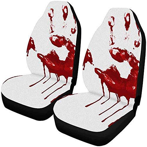 2 stuks gebruikersvriendelijke handafdrukken in bloed autostoelhoezen voor de voorkant, autostoelbescherming voor de meeste personenauto's, vrachtwagens, SUV's en bestelwagens.